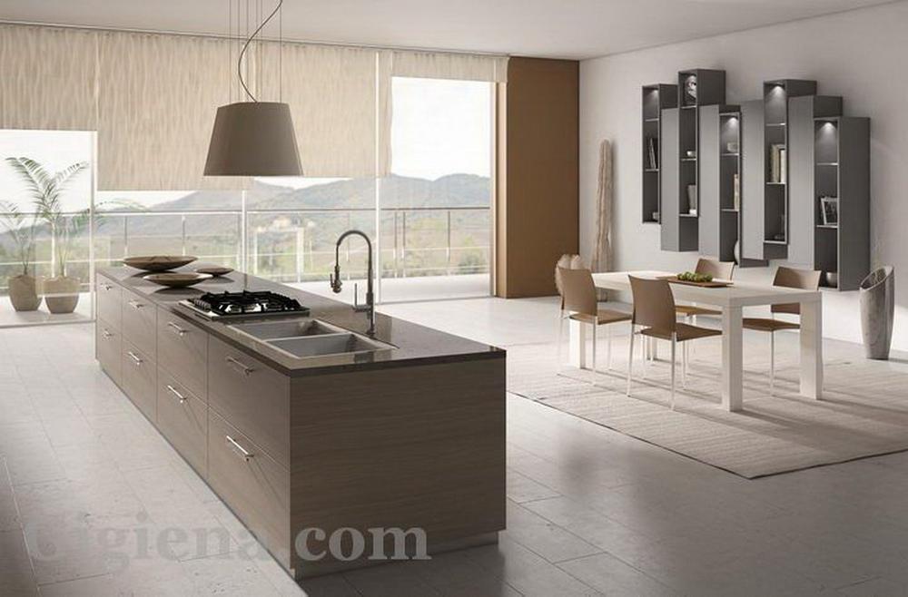 кофейная кухня в интерьере фото, интерьер кухни объединенной с лоджией