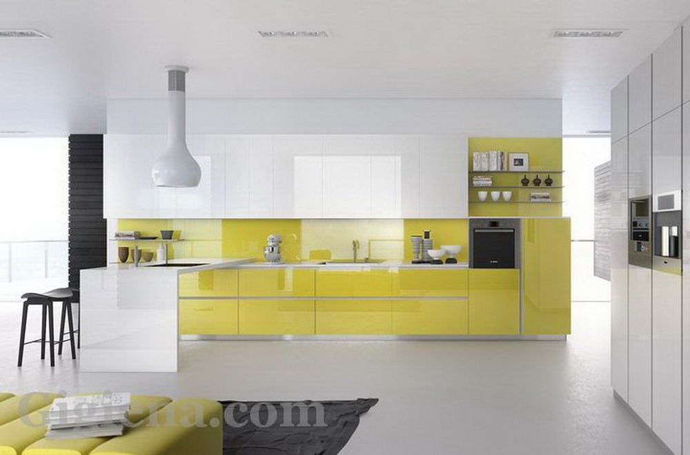 лимонный цвет в интерьере кухни, соотношение цветов в интерьере кухни