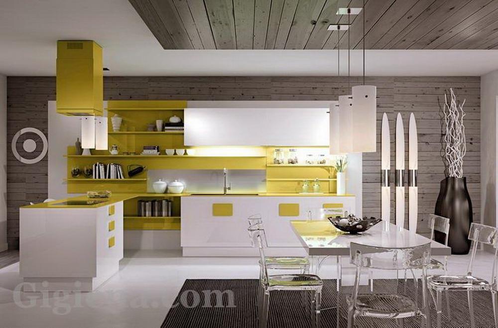 модные европейские интерьеры кухни, интерьер кухни переходящей в гостиную