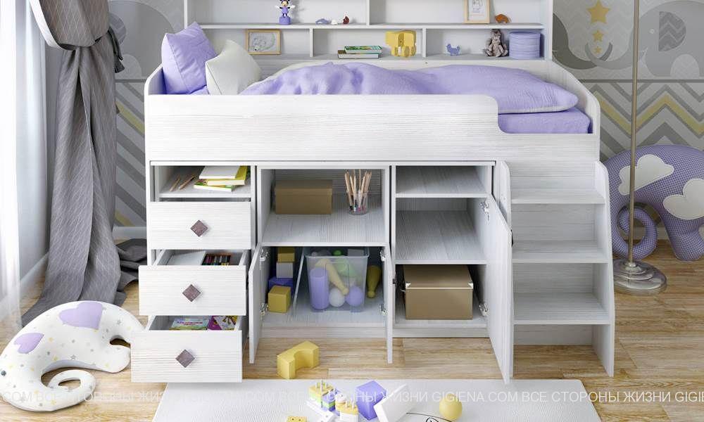 детская кровать чердак с полками фото