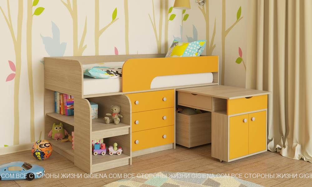 детская кровать чердак с выдвижным столом фото