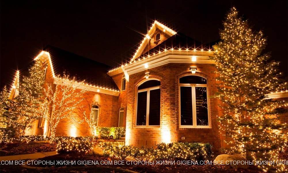 подсветка фасада дома фото