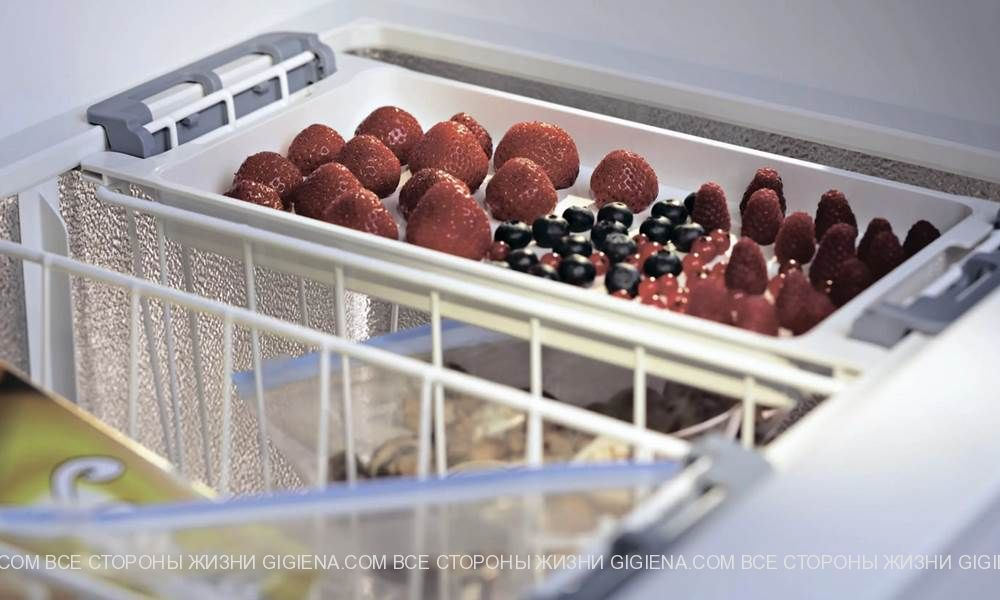морозильник с продуктами
